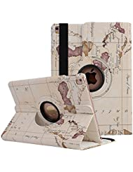 Apple iPad Smart Case, Elec Fan® Apple iPad Smart Case Fonction veille/réveil étui rotatif à 360 ° en étui de protection en cuir synthétique avec support film de protection, Map-weiß, iPad mini 1 2 3