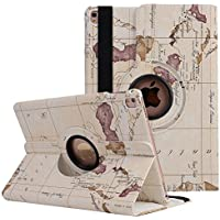 elecfan iPad Mini Etui Tasche, Apple iPad Mini 1 2 3 Smart Case Sleep/Wake Funktion 360 Grad drehbar Etui Kunstleder Schutz Hülle Ständer Displayschutz (iPad Mini 1 2 3, Map-weiß)