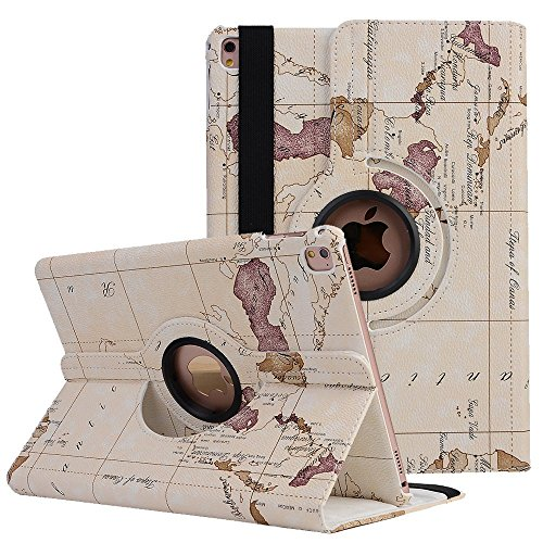 elecfan iPad Mini Etui Tasche, Apple iPad Mini 1 2 3 Smart Case Sleep/Wake Funktion 360 Grad drehbar Etui Kunstleder Schutz Hülle Ständer Displayschutz (iPad Mini 1 2 3, Map-weiß)