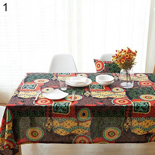 Pengyu - Mantel étnico de Lino y algodón, para Comedor, Restaurante,