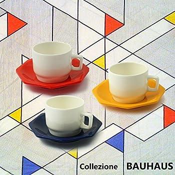 Cartaffini - Collezione Bauhaus - 3 Tazzine da caffè BIANCHE con piattino Ottagonale ROSSO - GIALLO - BLU