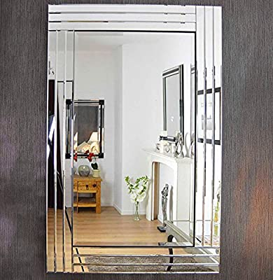 Modern Silver Bevelled Triple Edge Venetian Mirror 3FT11 X 2FT8 (120CM X 80CM) - inexpensive UK light store.