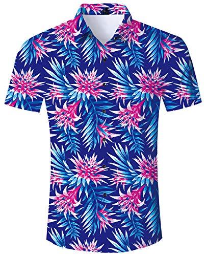d Herren Bunt Blumen Hawaiihemd 3D Lustig Druckt Hässliche Aloha Button Hawaii Shirt Herren Sommer Urlaub Party Outfits Strandhemd Kostüm L ()
