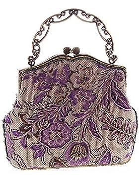 Urbancoco Damen klassisches luxus perlen Clutche Handtasche Abendtasche