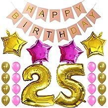 """KUNGYO Dulce Fiesta de Cumpleaños Kit Decoraciones-""""Happy Birthday"""" Bandera rosada; Número 25 Mylar Foil Globo;16 Piezas Rosa Oro Globo de Látex; 4 Piezas Estrella- Fuentes Perfectas del Partido Para el Cumpleaños de 25 Años"""
