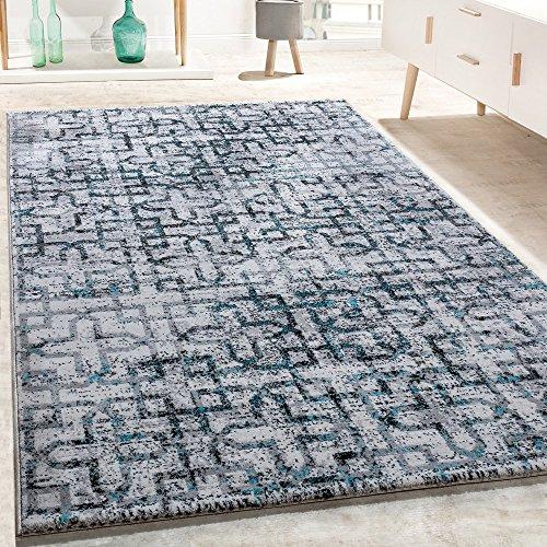 Alfombra De Diseño para Salón Moderna Modelo con Cruces En Negro, Gris Y Turquesa, tamaño:160x230 cm