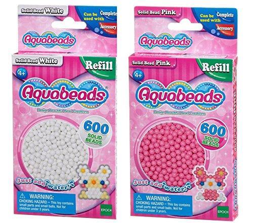Aquabeads Solid Bead Pack Bundle - Pink und Weiß - 2 Lieferumfang (Versand aus UK)