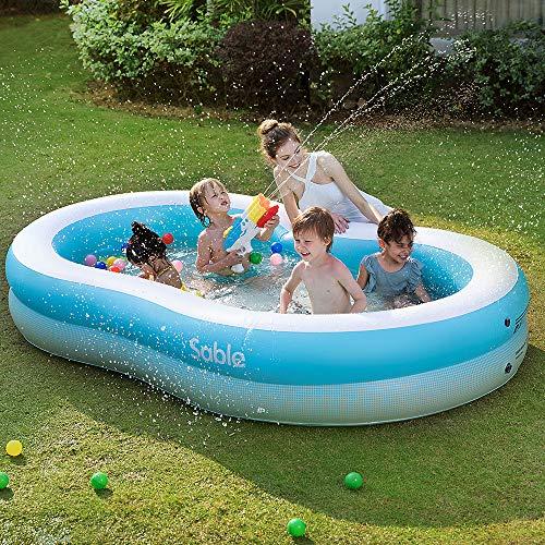 Sable piscina gonfiabile per la famiglia, facile da impostare, sopra terra, in giardino, all'esterno, per età 3+, 262 x 160 x 46 cm