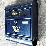 Großer Briefkasten / Postkasten Blau mit Zeitungsrolle Zeitungsfach Runddach