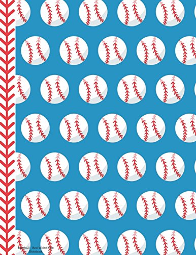 Baseball - Red White Blue Notebook - 4x4 Graph Paper: 130 Pages 8.5 x 11 Quad Ruled Pages School Teacher Student Game Player Coach Math Diagram por Rengaw Creations