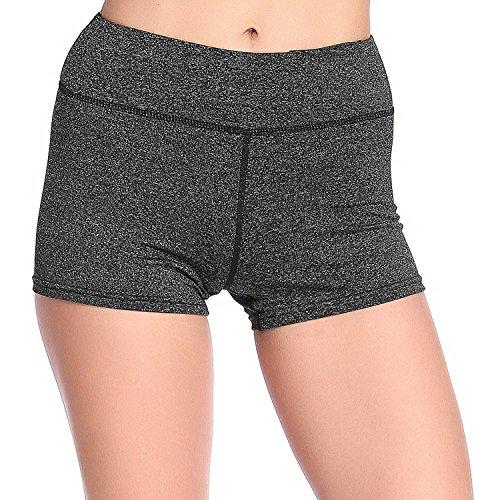 SOUTEAM Pantalons sportifs élastiques féminins Pantalons courts haute taille avec pochette cachée gris foncé 01