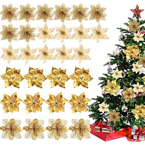 Willbond 30 pezzi natale poinsettia fiore decorazione artificiale fiore di natale per albero di natale corone ornamenti da sposa, 5 stili (oro)