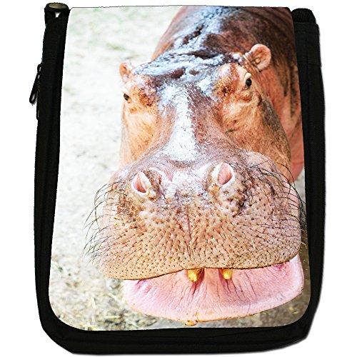 Ippopotamo Medium Nero Borsa In Tela, taglia M Smiling Hippo