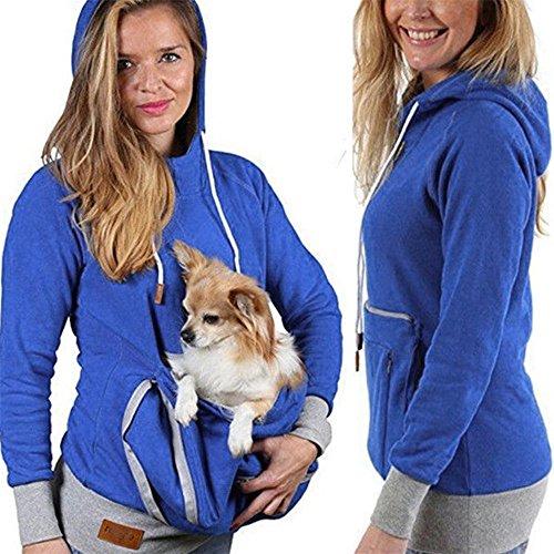 CYBERRY.M Unisexe Kangourou Chien Chat Titulaire Poche Poche Coton Blouse Hoodies Haut (Bleu, M)