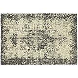 Alfombra Aspecto Vintage Colección Sitap – Alfombra salón y dormitorio fácil de limpiar Deco Dark Grey