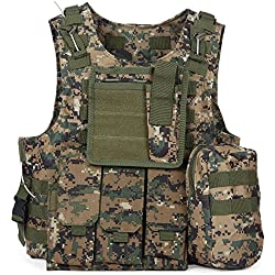 Chaleco de Policía Chaleco Táctico Militar al Aire Libre Juego de Guerra Airsoft Caza Tank Vest Molle Chaleco Combate Asalto Placa Camuflaje Chaleco de Portador para Camping Viaje Hiking (#7)