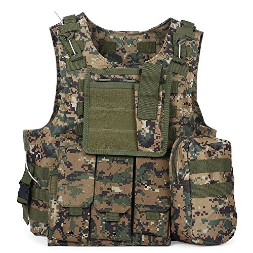 Taktischen Weste Brustschützer Armee Airsoft Weste Kampf Trainings CS Fans SWAT Tactical Weste Outdoor Fans CS Spiel Cosplay Weste des Counter Strike Spiel Jagd Weste (Jungle Camouflage)