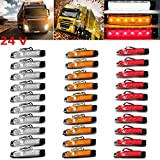 PolarLander 30Pcs 24V 6LED Indicadores Lámparas Lámpara Lámparas Para Camión Camión Camión Camión 6 LED Amber Clearence Bus Impermeable Rojo / Amarillo / Blanco