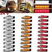 PolarLander 30Pcs 24V 6LED Indicadores Lámparas Lámpara Lámparas Para Camión Camión Camión Camión 6 LED Amber Clearence Bus Impermeable Rojo / Amarillo / Blanco