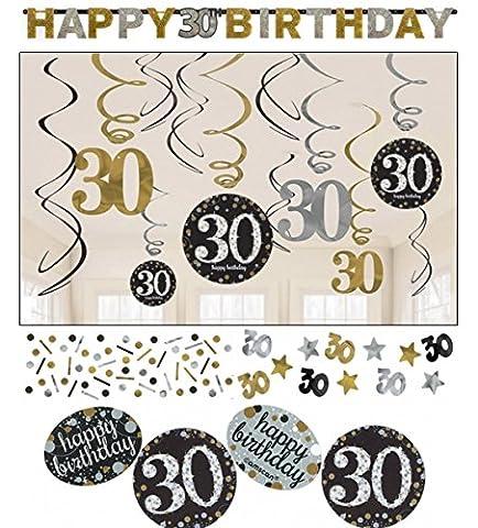 30.Geburtstag Dekoration Deko-Set 'Sparkling' Gold Silber Happy Birthday Partykette Girlande Konfetti Dreißig Jahre