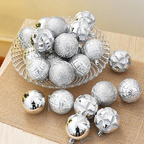 hlhn 24Christbaumkugeln Weihnachtskugeln Party Xmas Tree Dekorationen zum Aufhängen Ornament Decor Festival Party Anhänger 5cm silber