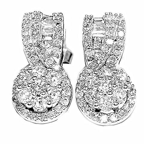 Midwest Bijoux Femme–Boucles d'Oreilles Pendantes Femme–Diamant 1carat or blanc 14K diamants Baguette et rond