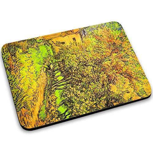 Van Gogh - The Garden Of The Clinic Of Saint-Remy, Mouse Pad Tappetino per Mouse Mouse Mat con Immagine Colorato Antiscivolo in Gomma di Base compatibile con Apple Magic Mouse. Ideale per Giocare 250 x 190mm.