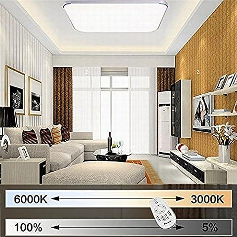 Etime® 64W LED Deckenleuchte Dimmbar Deckenlampe Modern Wohnzimmer Lampe Schlafzimmer Küche Panel Leuchte 2700-6500K mit Fernbedienung Silber (65x65cm 64W