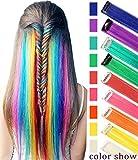 RHY 9 STÜCKE Party Highlight Bunte Haarteile Clip in Farbige Haarverlängerung Prinzessin Kostüme Perücke für Baby Mädchen / Puppen (Regenbogen farbe)