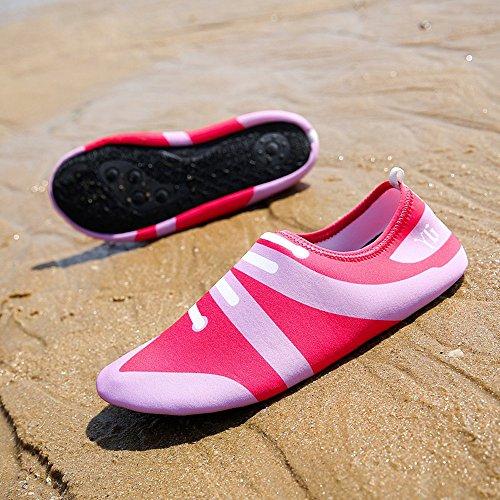 Chaussons de plage, Chaussons de surf,Unisexe Eau Skin Shoes Aqua Chaussettes pour plage Swim Surf Jogging Home pilote Yoga Fitness d'exercice Rose