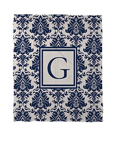 Manuelle holzverarbeiter & Weavers Coral Fleece Überwurf, 30von 102cm, Monogramm Buchstabe G, Blau Damast