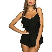 WIN.MAX Set di Costumi da Bagno Tankini da Donna Vita Alta Balza arruffata 2 Pezzi Bikini Set Costume da Bagno Plus Size…
