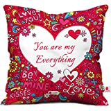 Indigifts indibni Micro Satin You are My Everything Cushion Cover- (12x12-inch, Pink and White)