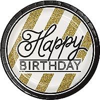 8 piatti Happy Birthday nero e oro 23 cm Taglia Unica