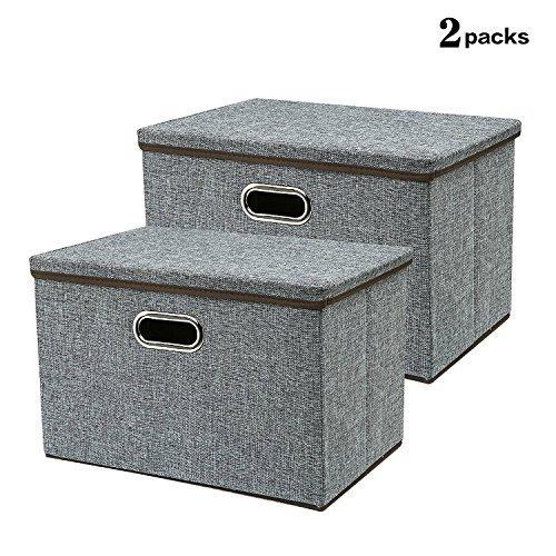Kofferraum Organizer Cube (Große Aufbewahrungsbox, 17,7 '' Robuste & StrongCollepsible Stoff Aufbewahrungsbehälter Bakset Home Cube Organizer Mit abnehmbarem Deckel für Schlafzimmer, Schrank, Regale, Büro, Grau, 2 Packungen)