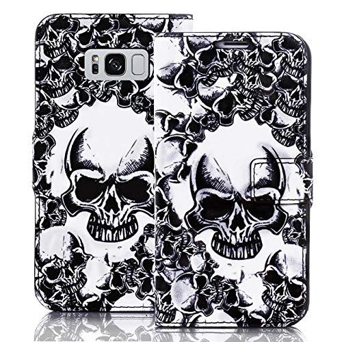 numerva Handyhülle kompatibel mit Samsung Galaxy S8 Hülle [Totenkopf Muster] Case Galaxy S8 Handytasche