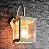 Robuste Wandleuchte Creme E27 bis 60 Watt 230V Wandlampe Laternenform aus Metall Garten Terrasse Weg Lampe Leuchte außen Beleuchtung