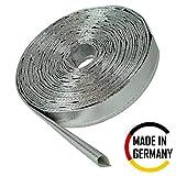 1m Aluminium Hitzeschutzschlauch - 12mm Innendurchmesser für Leitungen, Schläuche und Kabelbäume - Hitzebeständig bis 550°C