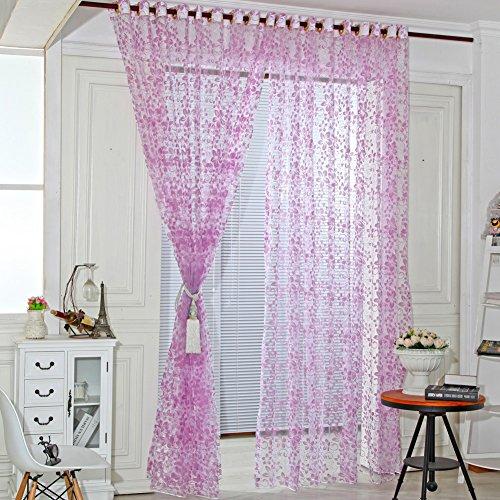 Amazingdeal365 Spitzen Vorhang Flugfensterdeko Voile Gardinen Schal 2m *1 m Set für Tür Schlafzimmer Wohnzimmer Kinderzimmer Balkon Terasse Spielzimmer