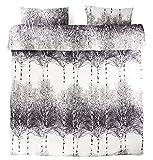 Vallila Koivikko Bettwäschegarnitur für Doppelbett, 100% Baumwoll-Satin, Motiv Bäume, Grau, 3-teiliges Set, grau, Doppelbett
