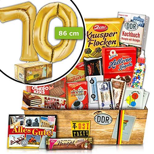 Geschenke zum 70. - INKL.70 FOLIENBALLON Gold - Geschenk Set DDR Süß