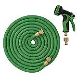 Gartenschlauch Rohr 50 ft/15 Meter, flexible Schlauchleitung mit Messing Anschlüssen Armaturen Schlauch, dreifacher Latex innen Kern, Polyester Gewebe Außenschicht und 9 Funktions Spray.
