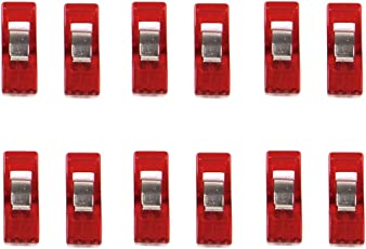 Imported Sewing Craft Quilt Binding Plastic Clips Clamps Pack of 12 Clear and Red