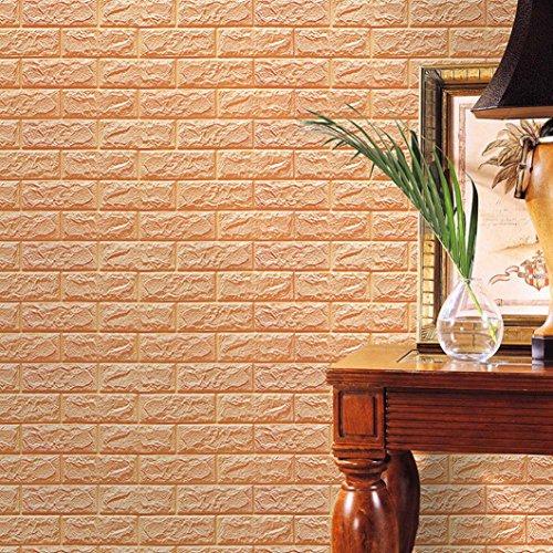 Hunpta PE Schaum 3D Tapete DIY Wand Aufkleber Wand Dekor prägeartiger Ziegelstein Stein (Khaki) (Außen Wand Dekor)