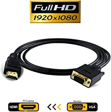 GT Gloptook High Speed HDMI to VGA Converter Cable (4 Feet - 1.2m) Supporting up to 1920 x 1080 (60Hz) - Works as Unidirectional HDMI to VGA Only