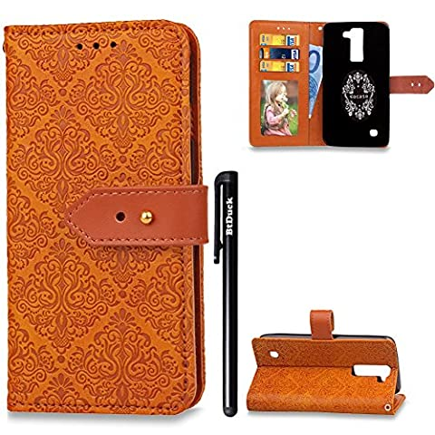 BtDuck Leather Solid Color Case LG K7 / K8 Individuality Fashion Orange Suitable For Female College Students To Use Cute Charm Wallpaper Brown Metal Buckle Phone Stand Protector Flip Folio Cover Anti-slip Skin Outdoor Protection Simple Strict Shockproof Heavy Duty Robust Bumper Case Shell with Stander Oyster Card ( Travel Card Bus Pass ) Holder Slots Pocket Kickstand Function Magnetic Closure Family Photo Folder + 1 * Black Stylus Pen Black