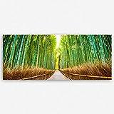 ge Bildet® hochwertiges Panorama Leinwandbild XXL - Bambus Wald in Kyoto - Japan - 120x50 cm einteilig   Wanddeko Wandbild Wandbilder Wohnzimmer deko Bild   2214 J