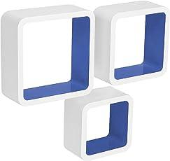 WOLTU #295 Wandregal Cubes, MDF Holz, Hängeregal Bücherregal, CD/DVD Aufbewahrung, Regal
