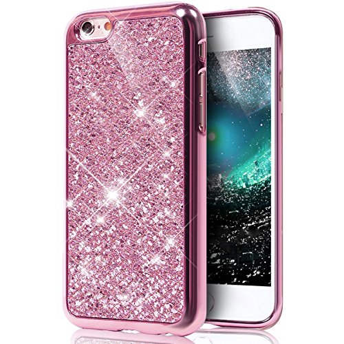 Custodia iPhone 5S Glitter, iPhone SE Cover Silicone, SainCat Custodia in Morbida TPU Protettiva Cover per iPhone 5S/SE,Creative Design Bling Glitter Diamond Silicone Case Ultra Slim Sottile Morbida T rosa