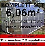 KOMPLETTSET: 6,06m² ALU Aluminium Gewächshaus Glashaus Tomatenhaus, 6mm Hohlkammerstegplatten - (Platten MADE IN AUSTRIA/EU) m. Stahlfundament, 1 Fenster mit autom. Fensteröffner von AS-S